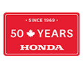 Overlaying the video is a red licence plate that reads: Since 1969 – 50 Years – Honda